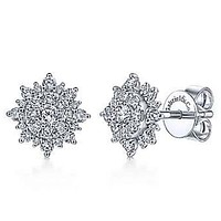 Gabriel Sunburst Diamond Stud Earrings