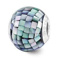 Black Mosaic Mother of Pearl, Glass & Sterling Silver Bead Charm