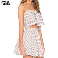 New Summer Ruffle Tops 2 Piece Set Women Mini Skirts Stripe Design Beachwear Girls Crop Top and Skirt Set Clothing Suit Sets