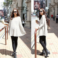 Women Fashion Round Neck Long Sleeve Lace Pregnant Dress Maternity Dress tops 7_S (Color: Gray) = 1916388804