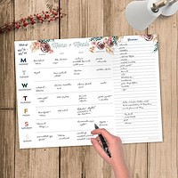 Floral 12x9 Weekly Meal Planning Pad
