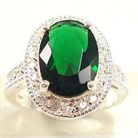 Fashion women 925 sterling  silver Emerald  & white topaz gemstones Rings Size 6 7 8 9 10 = 1946831428