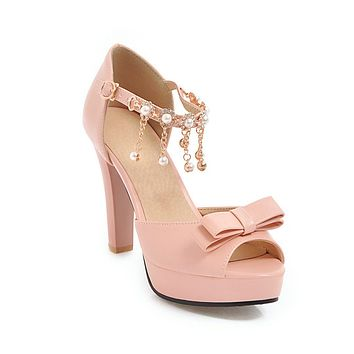 Pearls Rhinestone Ankle Strap Bow Tie Chunky Heels Platform Sandals for Women 8414