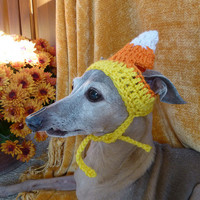 Dog hat - CANDY CORN - Thanksgiving pet hat - Humorous - 2 to 20 lb pets -  need measurement
