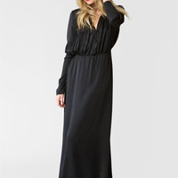 Forsling Black Silk Peasant Dress