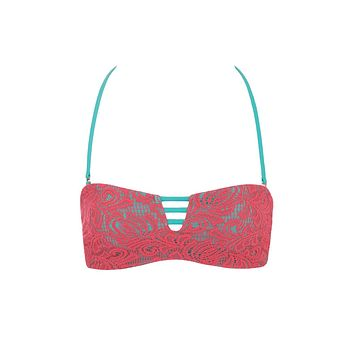 Macrame Lace Strappy Bandeau Bikini Top - Hello Sunset Pink & Teal Green
