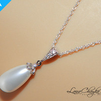 Wedding Bridal Pearl Necklace Swarovski White Teardrop Pearl 925 Sterling Silver Chain Cubic Zirconia FREE US Shipping