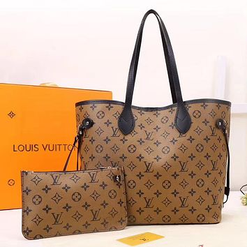 Louis Vuitton LV Women Leather Zipper Shopping Shoulder Bag Handbag Set Two Piece