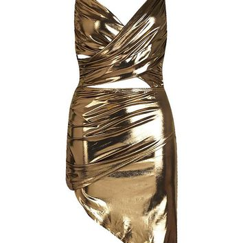 Paris Hilton Metallic Cut Front Chain Detail Dress | Boohoo