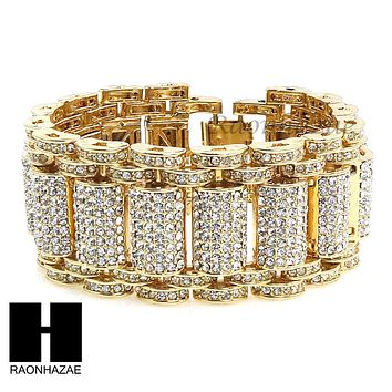 NEW ALL GOLD PLATED MICRO PAVE SIMULATED DIAMOND 8.5 BRACELET KB023G