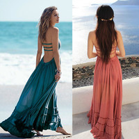 Summer Bohemian Sleeveless lowcut  Black hippie dress  5 colors