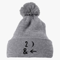 To The Moon And Back  Embroidered Knit Pom Cap