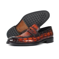 real Crocodile men's Loafers Shoes brand Luxury party wedding Genuine Leather Alligator driving male Casual shoes