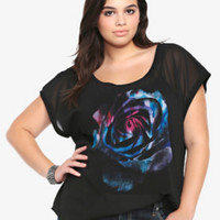 Knit to Woven Rose Graphic Top
