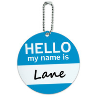 Lane Hello My Name Is Round ID Card Luggage Tag
