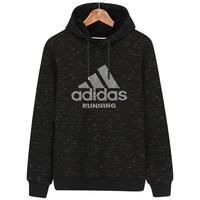 ADIDAS 2018 autumn new sports and leisure men's hooded long-sleeved sweater black
