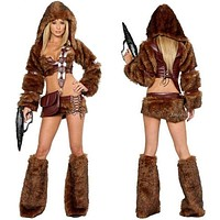 Fancy Women Style Party Brown Cosplay Sexy Mini Skirt Halloween Wolf Fur Carnival Costume For Women Macchar Cosplay Catalogue