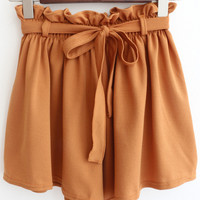 Drawstring Waist Wide Leg Chiffon Ruffled Shorts
