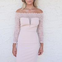 Florence Lite Almond Off The Shoulder Ponte Dress