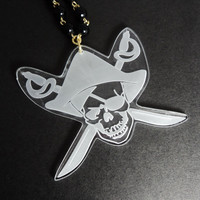 Pirate Skull long necklace Laser cut acrylic pendant Skull and Crossbones pirate party / talk like a pirate day arrgh!