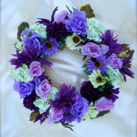Cemetery Floral Memorial Remembrance Wreath -  Fall floral stems