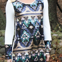 Aztec Sequined Shift Dress - Ivory