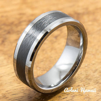 Tungsten Carbide Ring with Brushed Black Ceramic Inlay (8mm width,  Flat style)