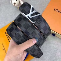 LV Tide brand checkerboard simple smooth buckle belt