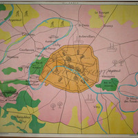 Original Vintage French Poster 1960 Paris Map, Wine Making Double sided Poster