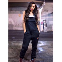 Champion Summer Fashionable Women Casual Overalls Jumpsuit Black