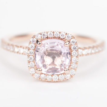 SALE - Certified Peach Pink Square Cushion Sapphire & Diamond Halo Engagement Ring 14K Rose Gold