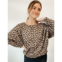 Twist Back Detail Top - Leopard