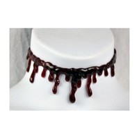 Thick Blood Drip Choker Necklace Special Effects
