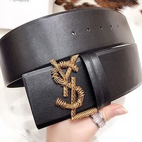 YSL Hot New Products Women's Letter Hollow Gold Buckle Large Belt Belt