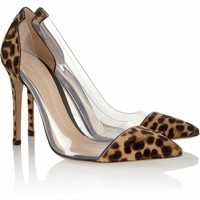Boss Chick Pony Fur  Leopard PVC Pumps
