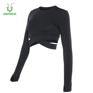 Vansydical Women Sports Yoga T-Shirt Sexy Waist Running Shirt Fitness Aerobics Sports Tops Women Crew Neck Long Sleeves Gym Tops