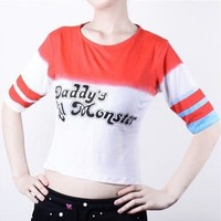 Hot Sale Joker Suicide Squad Harley Quinn Daddy's Lil Monster T Shirt Costume Cosplay Top [8833927116]