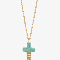 Natural Stone Cross Necklace
