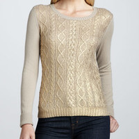 Gold-Foil-Front Cashmere Sweater