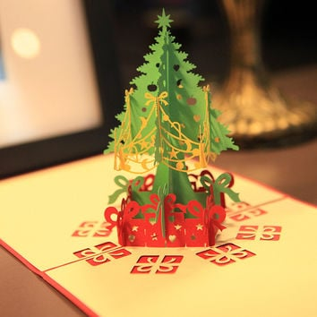 3d Merry Christmas Tree Greeting Cards Postcards Birthday Gift Message Card Thanksgiving Card Merry Christmas Gifts KT0346