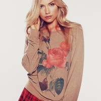 CLARE BAGGY BEACH JUMPER at Wildfox Couture in  TEA STAIN, - DIRTY BLACK