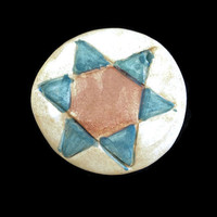Brooch/Pin- Ceramic round cream brooch with red and green star. Jewelry-Fashion Accessories. Unique hand painted pin.