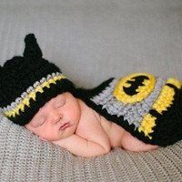 2015 New Infant Knitted Crochet Crochet Sweater knitting batman For Newborn Baby Costume Photo Photography Prop (Size: 0-6m, Color: Multicolor) = 1927862596