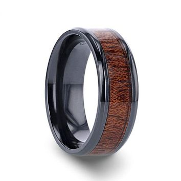 DOMINICA Black Titanium Band with Polished Bevels and Exotic Mahogany Hard Wood Inlay - 8 mm