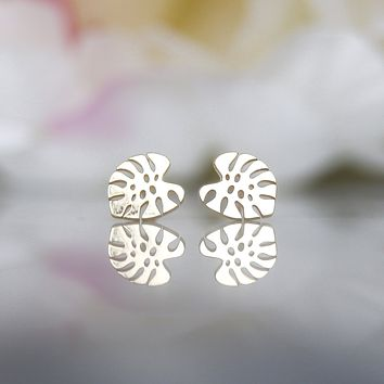 10kt Delicious Monstera Studs