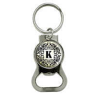 Letter K Initial Black White Tan Bottle Opener Keychain