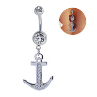 New Charming Dangle Crystal Navel Belly Ring Bling Barbell Button Ring Piercing Body Jewelry = 4672662276