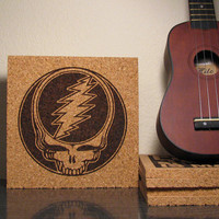 Grateful Dead Skull Steal Your Face JukeBlox Music Art Cork Trivet Wall Hanging Kitchen Office Decor - Christmas Gift