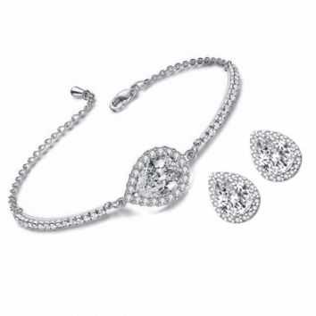 Perfect Pear Austrian Crystal Halo 1CT Stud Earrings and Matching 2CT Bracelet