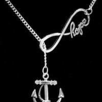Large Hope Infinity Anchor Hope Is An Anchor Christian Lariat Necklace